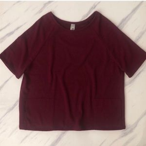 Go Couture Boxy Pullover Top Maroon